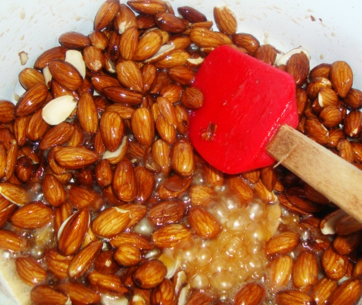 boiling the almond mixture